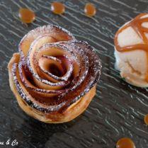 Roses de pommes au caramel beurre salé