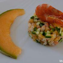 Tartare de crevettes et courgettes au melon